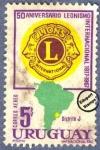 Sellos de America - Uruguay -  Cincuentenario del Club de Leones Internacional