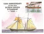 Sellos del Mundo : Oceania : Kiribati : 150 Anivº del primer vapor con hélice