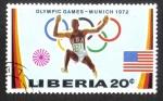 Sellos del Mundo : Africa : Liberia : Juegos Olímpicos de Verano 1972 , Munich