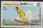 Sellos de Asia - Camboya -  CAMBOYA 1983 Scott 443 Sello Juegos Olimpicos Invierno Saltos Ski Matasello de favor Preobliterado M