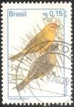 Sellos de America - Brasil -   Sicalis flaveola-Canario da terra
