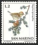 Sellos del Mundo : Europa : San_Marino : Regulus ignicapilla-reyezuelo listado