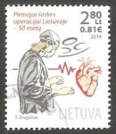 Sellos del Mundo : Europa : Lituania :  50 Anivº de la primera operación a corazón abierto en el Hospital Universitario de Vilnius