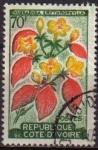 Sellos del Mundo : Africa : Costa_de_Marfil : COSTA DE MARFIL COTE D'IVORE 1961 Yvert197 Sello Serie Flora mussaenda erythrophylla usado M-229