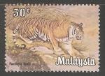 Sellos del Mundo : Asia : Malasia : Panthera tigris-tigre
