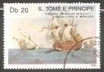 Sellos del Mundo : Africa : Santo_Tomé_y_Principe : Pintura caravelas mercantes