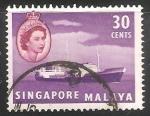 Sellos del Mundo : Asia : Singapur : Barco