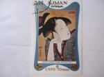 Sellos de Asia - Emiratos Árabes Unidos -  Ajman - Exposición Mundial Expo70 Osaka - Kitagawa Utamaro  (1753-1806) Melancholy Love.