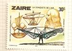 Sellos del Mundo : Africa : República_Democrática_del_Congo : Historia de la aviacion. Leonardo da Vinci y sus dibujos.