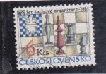 Sellos de Europa - Checoslovaquia -  figuras y tablero ajedrez