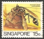 Sellos del Mundo : Asia : Singapur : Delta arcuata avispa