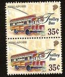 Sellos de Asia - Singapur -  Transportes colectivos - Trolebús