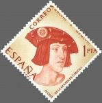 Sellos del Mundo : Europa : España : ESPAÑA 1958 1228 Sello Nuevo Cent. Muerte Carlos I España V Alemania 1pta