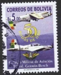 Sellos del Mundo : America : Bolivia : 50 aniversario del colegio militar de aviacion