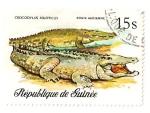 Sellos del Mundo : Africa : Guinea : Reptiles y serpientes. Cocodrilo.