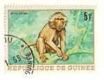 Sellos del Mundo : Africa : Guinea : Animales africanos. Babuino.