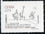 Sellos del Mundo : Europa : España : 5026- DISELLO. Don Quijote y Sancho Panza con un molino al fondo, de Carlota Artero Gòmez.