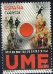 Sellos del Mundo : Europa : España : 5032 -Efemérides. Boton rojo de emergencias sobre fondo de imágenesdel personal de la UME.