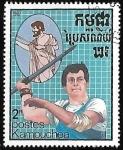 Sellos de Asia - Camboya -  Lanzamiento de jabalina