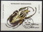 Sellos del Mundo : Africa : Madagascar : MADAGASCAR 1993 Scott 1223 Sello Nuevo HB Escarabajo Beetles Goliathus Goliathus Matasellos de Favor