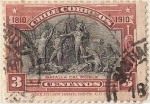 """Sellos del Mundo : America : Chile : BATALLA DEL ROBLE / 1910 """"CENTENARIO DE LA INDEPENDENCIA NACIONAL"""""""