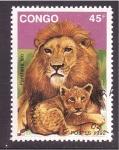 Sellos de Africa - República del Congo -  León adulto y cachorro