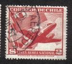 Sellos de America - Chile -  Bandera Nacional y avion