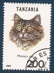 Sellos del Mundo : Africa : Tanzania :  Gatos de Raza - Gato de Maine