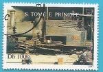 Sellos de Africa - Santo Tomé y Principe -  primeras locomotoras de vapor en la islas