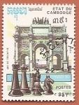 Sellos del Mundo : Asia : Camboya : Campeonato del mundo de ajedrez - Paris 90 - Arco del Triunfo