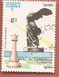 Sellos del Mundo : Asia : Camboya : Campeonato del mundo de ajedrez - Paris 90 - Victoria de Samotracia