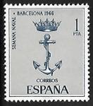 Sellos de Europa - España -  Semana Naval- Barcelona 1966