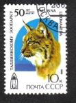 Sellos de Europa - Rusia -  Zoológico de Tallin, 50 ° aniversario, Lince eurasiático (Lince lince)