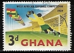 Sellos del Mundo : Africa : Ghana : Banderas y un portero de futbol