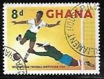 Sellos del Mundo : Africa : Ghana : Jugador haciendo un gol