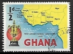 Sellos del Mundo : Africa : Ghana : Map from West Africa and Gold Cup