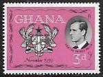 Sellos del Mundo : Africa : Ghana : Principe Felipe de Inglaterra y Escudo de Armas de Ghana