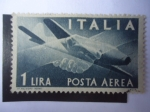 Sellos de Europa - Italia -  Apretón de Manos - Avión Campini-Caproni CC2- Democracia.