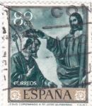Sellos de Europa - España -  JESÚS CORONANDO A S.JOSÉ (Zurbarán)(35)