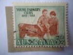 Sellos de Oceania - Australia -  Agricultores-Becerros - 25° Aniversario del Club Australiano.
