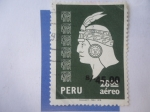 Sellos de America - Perú -  Cabeza Inca -( Estampilla habilitada)