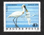 Sellos de Europa - Hungría -  Aves del Parque Nacional Hortobágy, Espátula Eurasiática (Platalea leucorodia)
