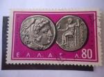 Sellos de Europa - Grecia -  Monedas Griegas Antiguas-Zeus y Alejandro III el Grande - Alejandro Magno (356 aC-323 aC -