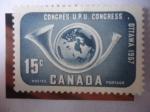 Sellos de America - Canadá -  Corneta de Correo y Globo Terráqueo - 14° Congreso de la U.P.U. Ottawa, 1957.