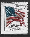 Sellos de America - Estados Unidos -  Bandera y lema