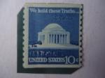 Sellos de America - Estados Unidos -  Jefferson Memorial and Signature - Memorial y Firma del Presidente Jefferson - United States 10c.