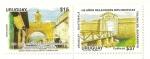 Sellos de America - Uruguay -  100 años relaciones diplomaticas, Uruguay Guatemala . (diptico)