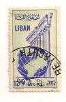 Sellos de Asia - Líbano -  Bola del mundo y columnas.