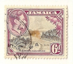 Sellos del Mundo : America : Jamaica : Rey Jorge VI y paisaje.  Portland, rio Priestman.