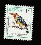 Sellos de Africa - Kenya -  Ave Trachyphonus erythrocephalus